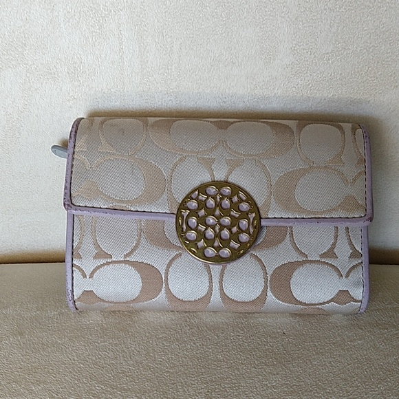 Coach Handbags - Coach wallet light purple & tan